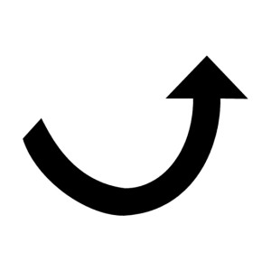 black arrow curved