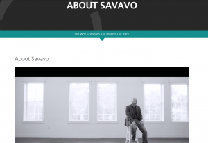 Savavo About Us website page